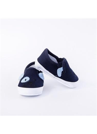 First Step Bebek Ayakkabı Köpek Desenli Mavi Lacivert